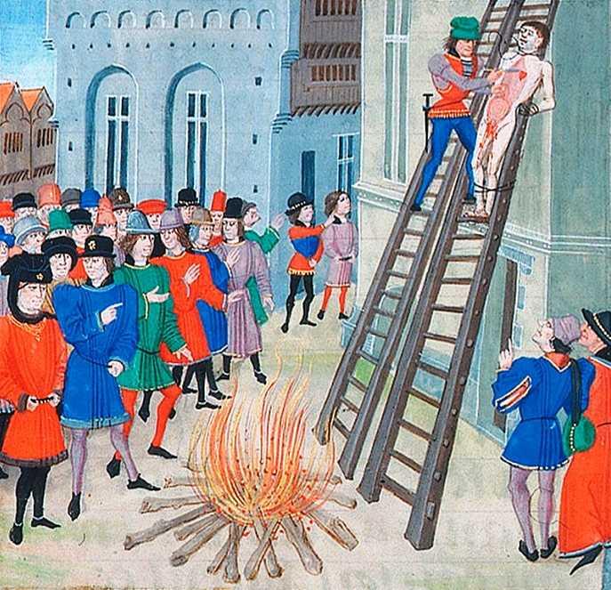 Казнь Хью ле Диспенсера - младшего (1326).  Миниатюра из рукописи «Хроник» Жана Фруассара