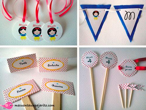 kit fiesta personalizada de cumpleaños de Blancanieves, meseros, place cards, toppers, etiquetas, guirnlada