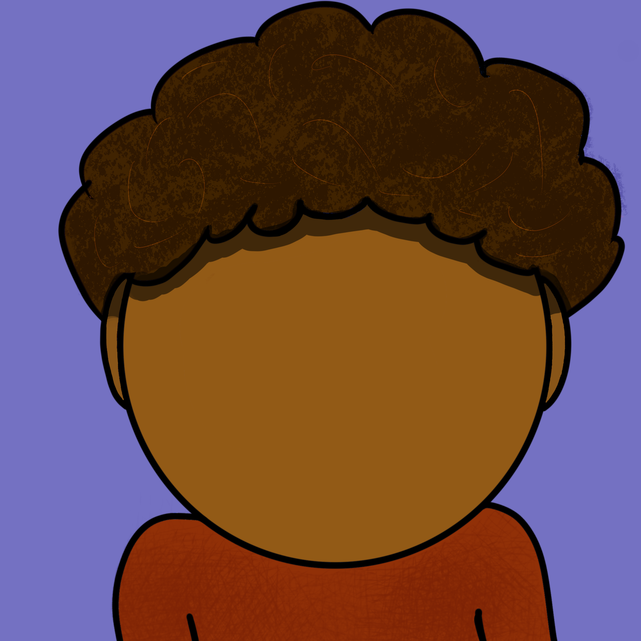 2D Drawing of me, a black guy with a large afro wearing a red sweater.