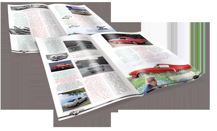 4 pages issues du livret consacré à la Ford Mustang 1968. Cliquez pour afficher en HD