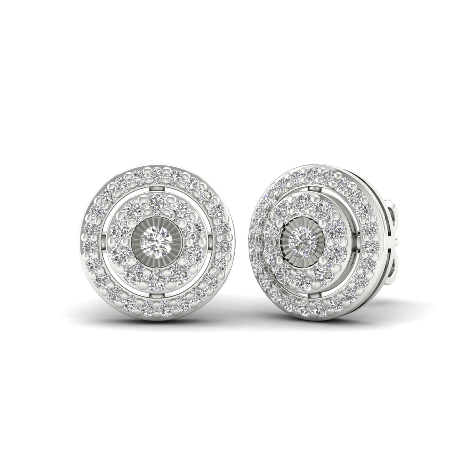 Sterling Silver 0.42ct TW Diamond Double Halo Stud Earr