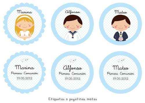 Etiquetas pegatinas de Primera Comunión personalizadas niña, niño, mano con cirio o copa, fondo motas