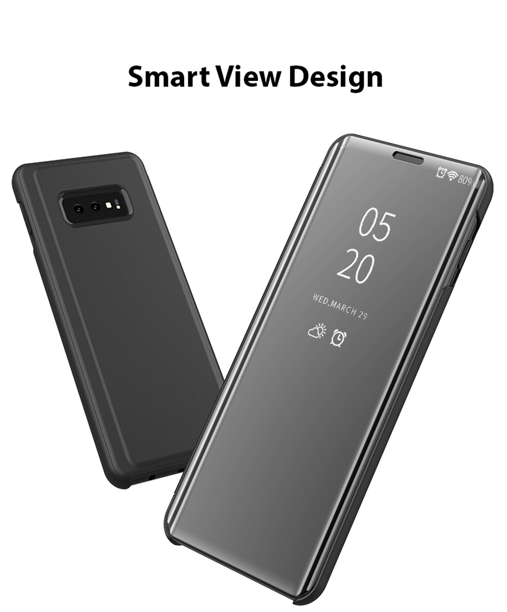 thumbnail 14 - For-Samsung-Galaxy-S9-S10-Plus-Smart-View-Mirror-Leather-Flip-Stand-Case-Cover
