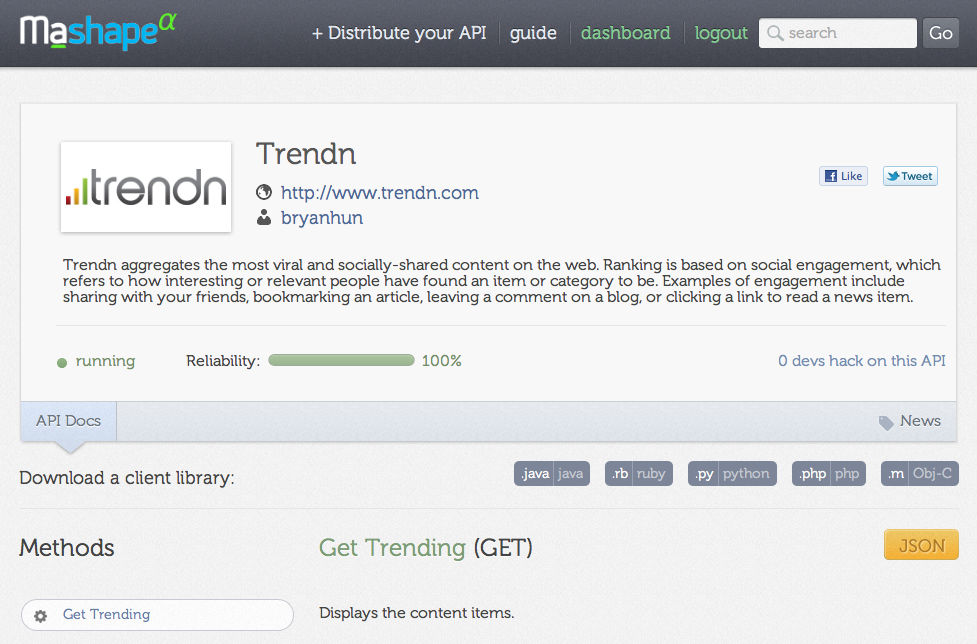 Trendn API to find out what's trending now