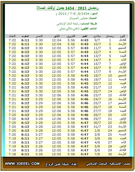 امساكية رمضان 2013 – 1434 | الصومال مقديشو - امساكية شهر رمضان الصومال مدينة مقديشو 2013 - امساكية رمضان جميع الدول العربية 2013