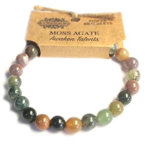 power bracelet - moss agate