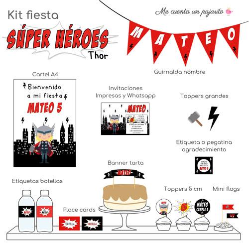 kit de cumpleaños personalizado súper héroe thor, invitaciones, cartel bienvenida, toppers, etiquetas, pegatinas, guirnalda