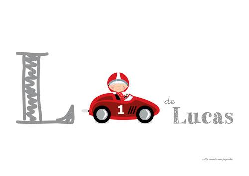Lámina personalizada nombre coche rojo