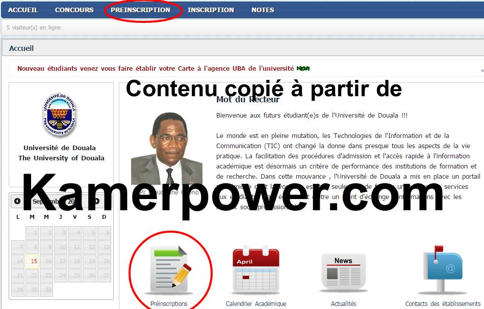 Université de Douala procédure de préinscription en ligne