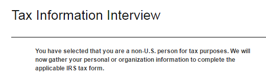 Tax info interview - non US for tax purposes