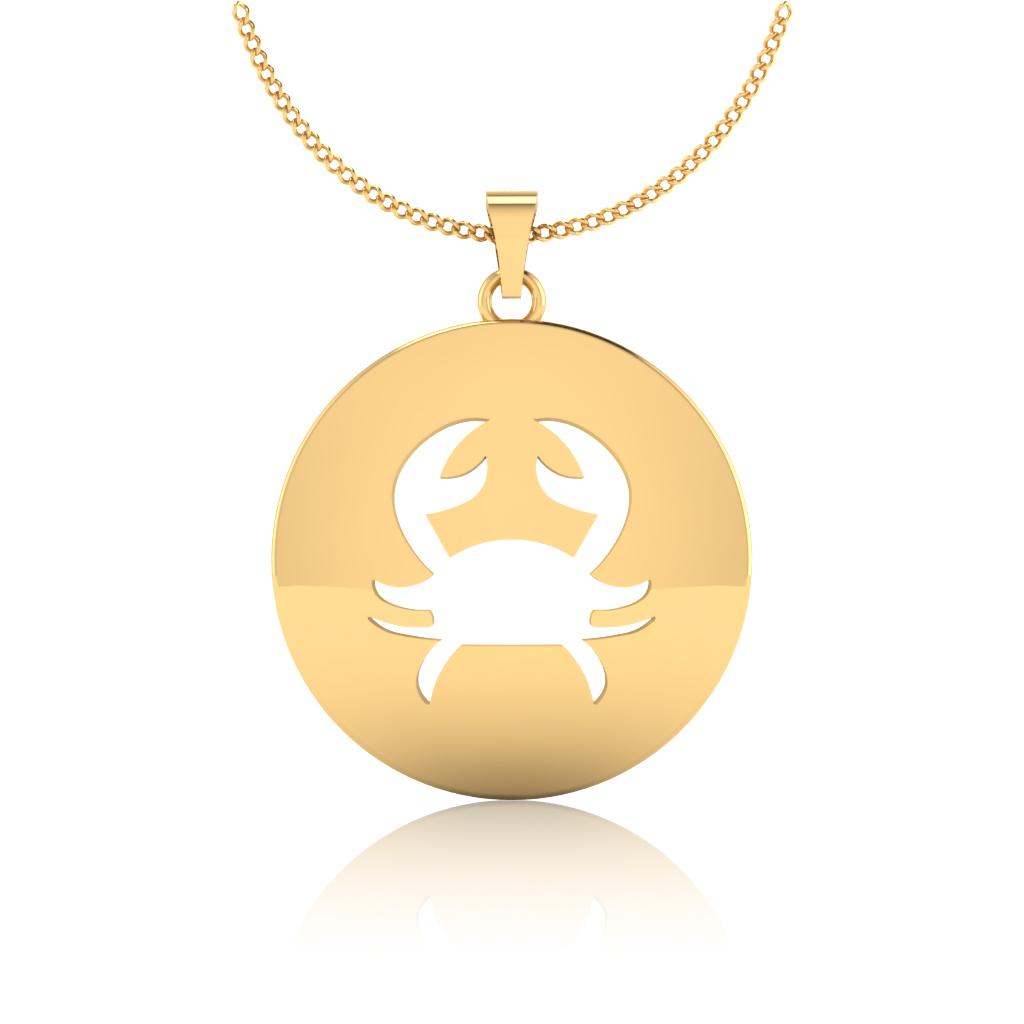 The Cancer Zodiac Gold Pendant