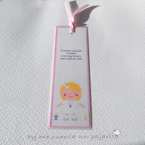 Marca páginas personalizado de primera comunión niña con copa y cirio