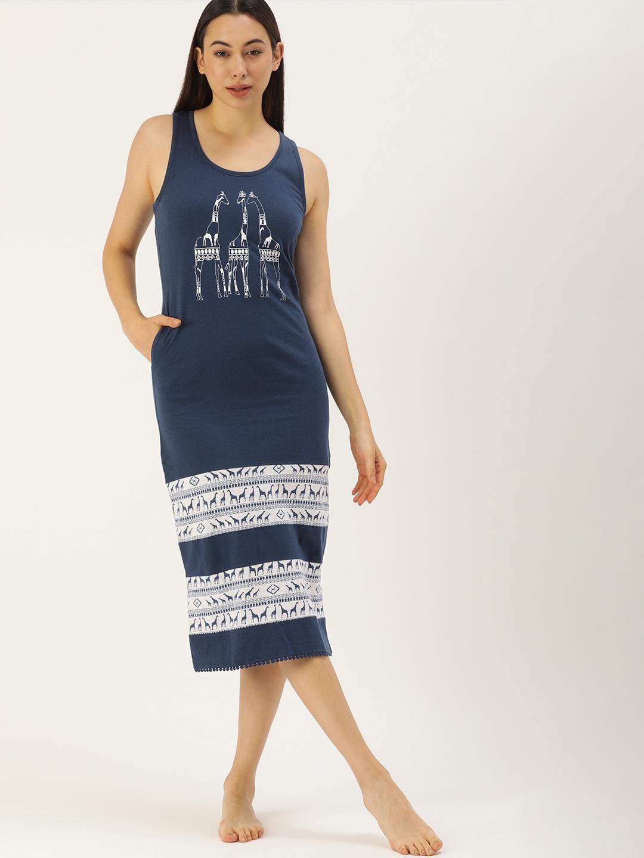Slumber Jill Giraf Blue Melange Nightdress