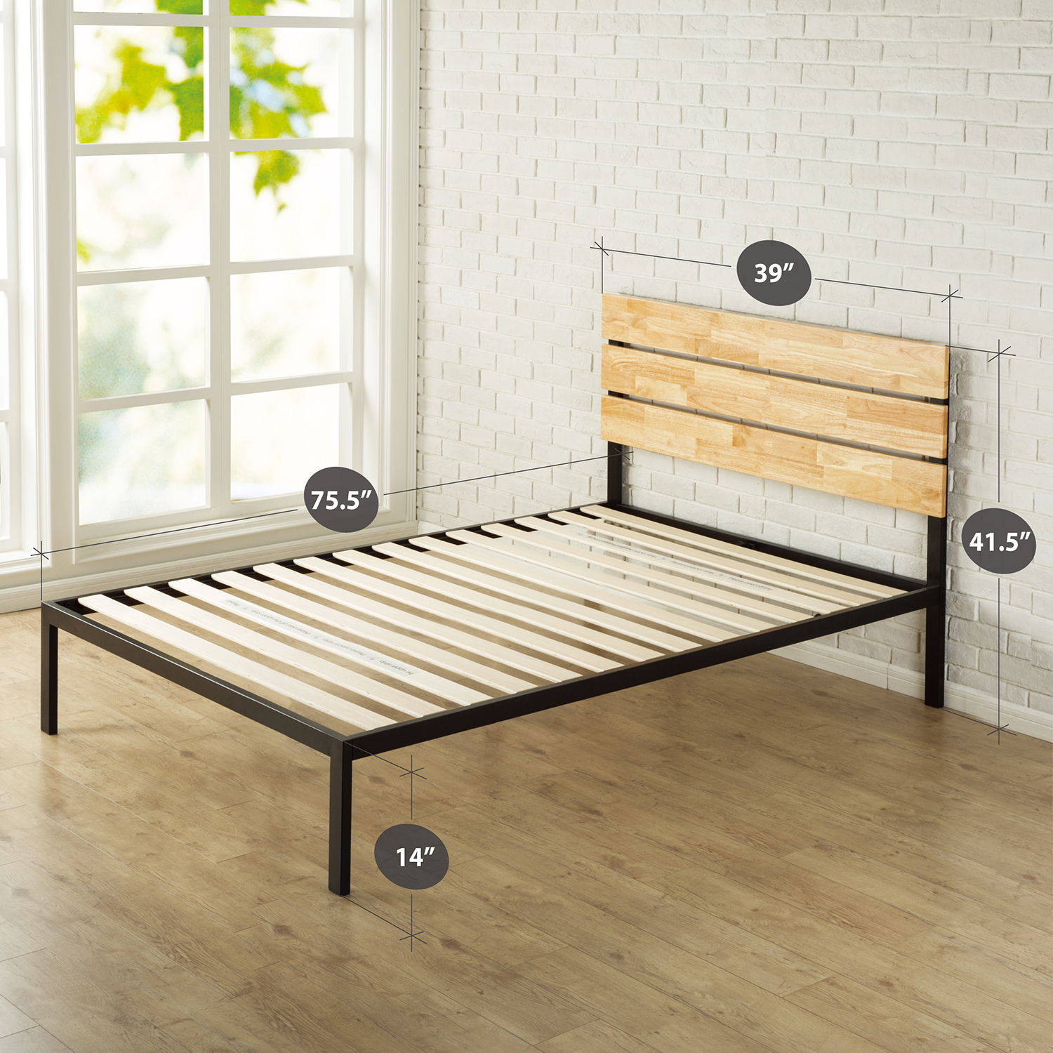Zinus Paul Queen Double King Single Bed Frame Pine