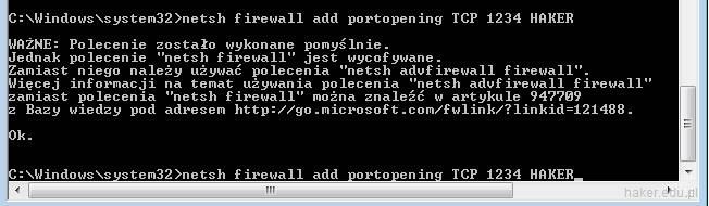 Dodawanie reguły portu otwartego 1234 w net sh firewall.