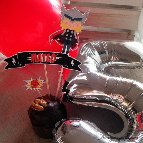 Banner y toppers XL tarta cumpleaños súper héroe Thor
