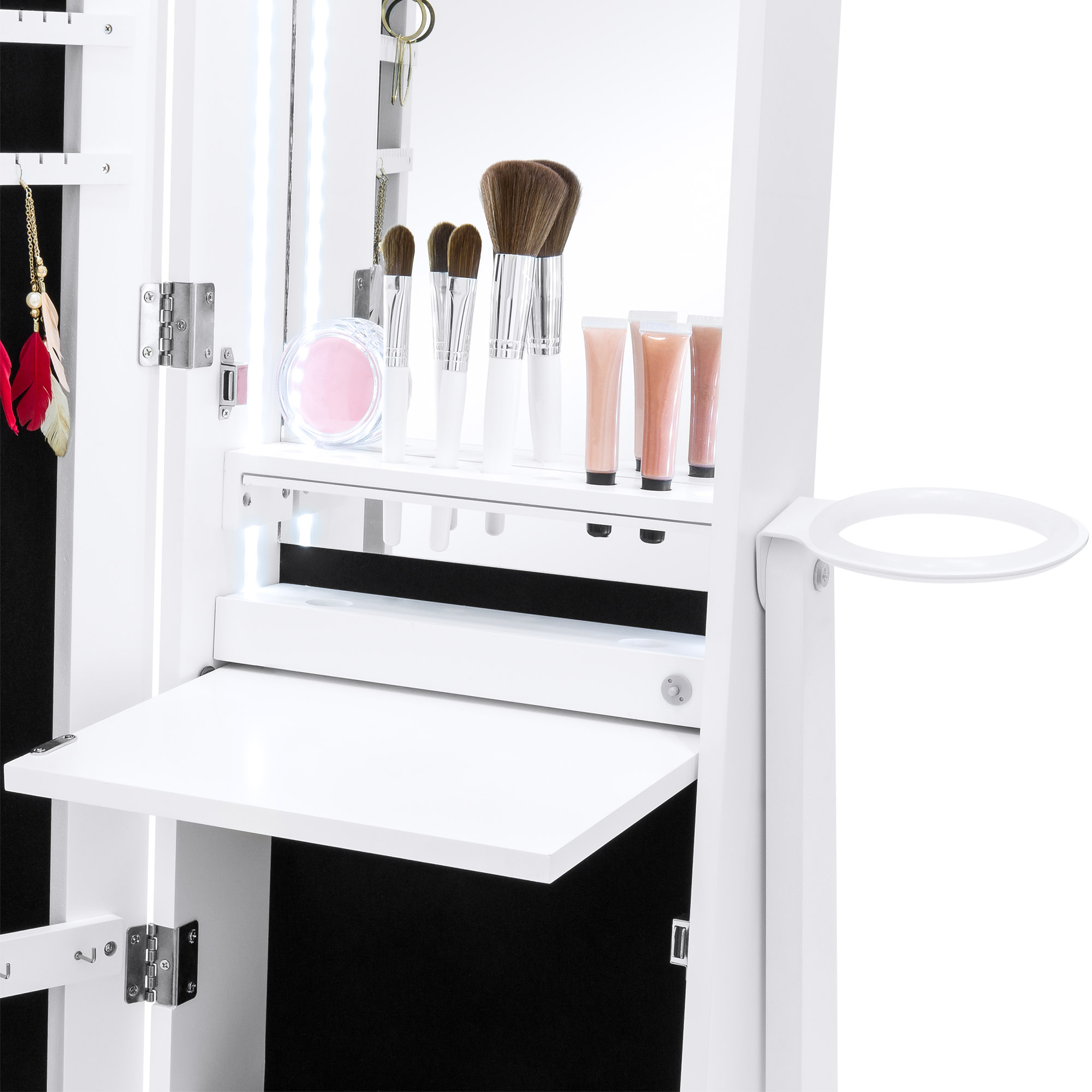 Bcp Standing Full Length Led Mirror Jewelry Armoire W