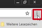 Über die 3 Punkte rechts oben im Browser kann das Menü geöffnet werden.