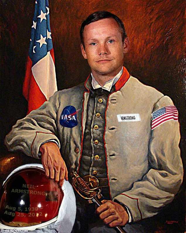 Фанарт: астронавт Нейл Армстронг в старинной одежде