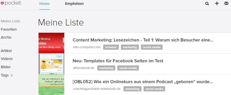 Auswahl Seiten in Lesezeichen-Dienst Pocket