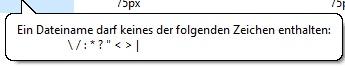 Hinweis bei Windows 10 zu unerlaubten Zeichen im Dateinamen