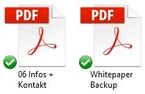 Durch die Änderung für PDF-Dateien ändert sich die Vorschau - links mit dem Adobe Reader, rechts mit Google Chrome.