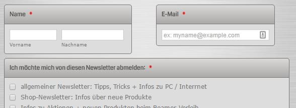 Newsletter Abmeldung mit Name, Mail-Adresse + Kategorien