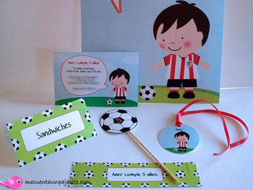 kit fiesta personalizada de cumpleaños futbolista, cartel bienvenida, invitaciones, place cards (meseros) toppers, etiquetas, servilleteros o etiquetas botellas