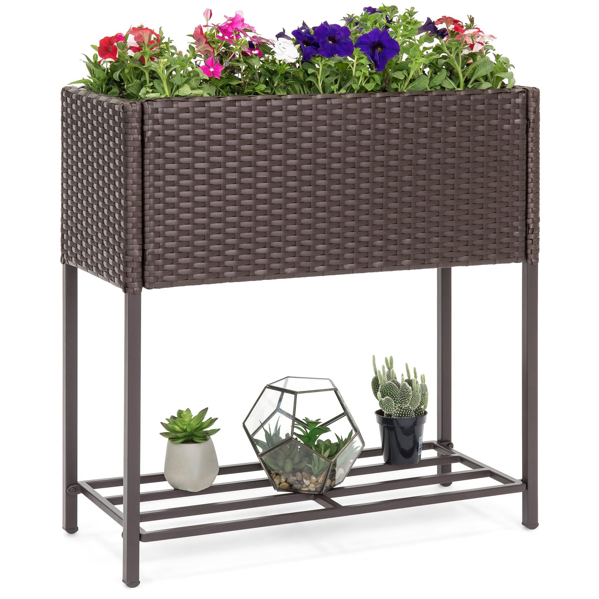BCP 2-Tier Indoor Outdoor Wicker Raised Flower Planter Box