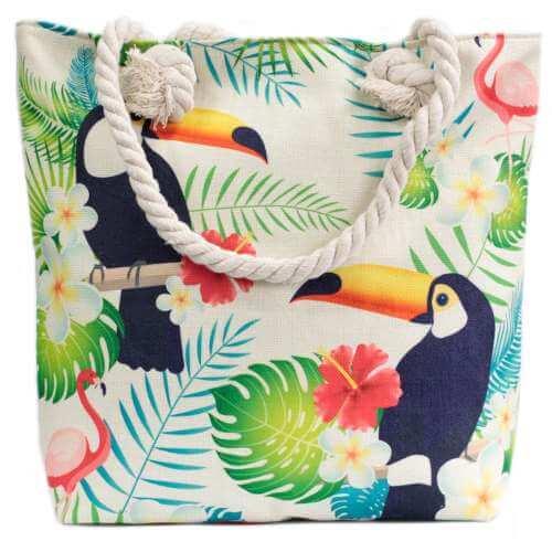 rope handle bag - tropical toucan