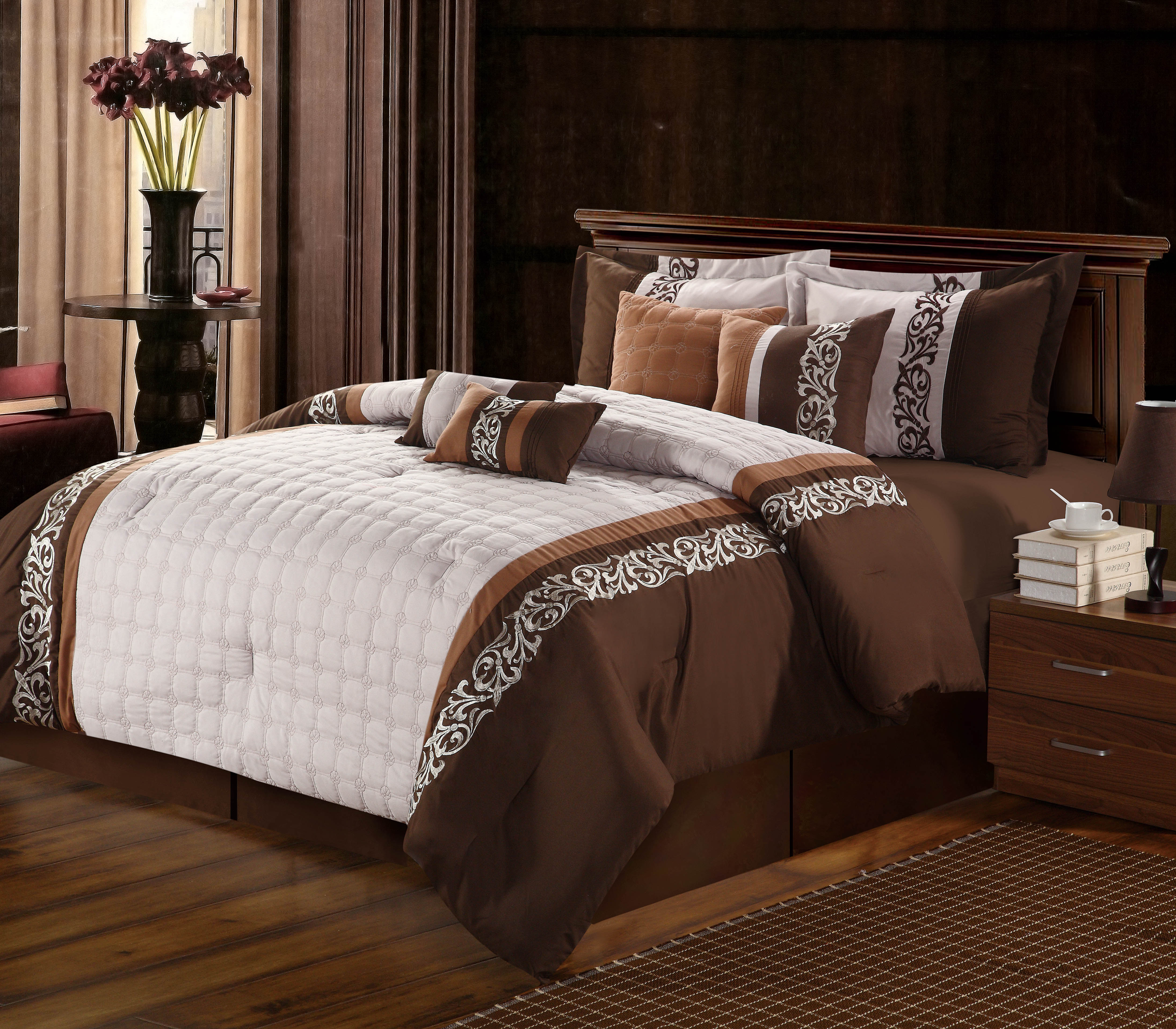 Chic Home Glendale 8-Piece Embroidered Comforter Set, Brown Queen