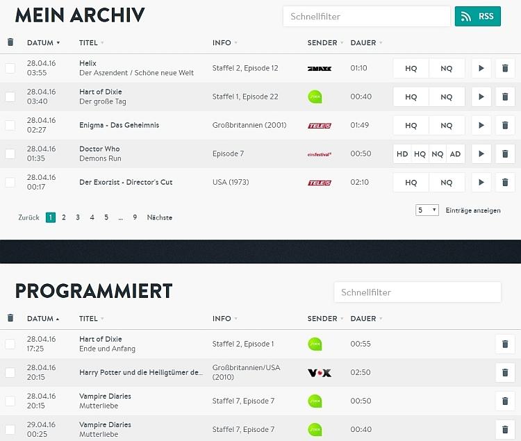 Bei YouTV sind im Abo YouTV Pro 50 Aufnahmen mit unterschiedlichen Qualitäts-Einstellungen beim Download möglich. In der Liste der programmierten Sendungen kann man die kommenden Sendungen sehen.
