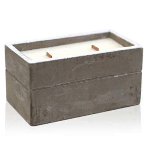 soy wax large concrete candle - clove & dark sandal