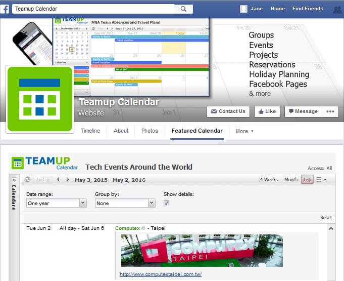 Facebook calendar tab