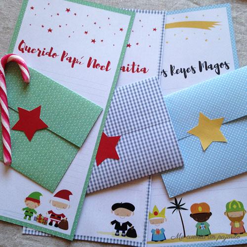 Carta para Papá Noel, el Olentzero o los Reyes Magos con sobre,  imprimibles gratis, descargables