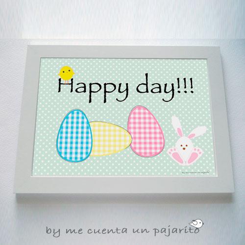 Lámina de pascua con huevos conejo y pollito, happy day