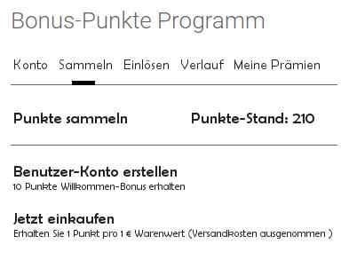 Übersetzter Punkte-Stand mit Anmeldung Benutzerkonto
