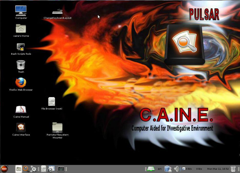 System CAINE posiada kilka zainstalowanych już aplikacji na pulpicie