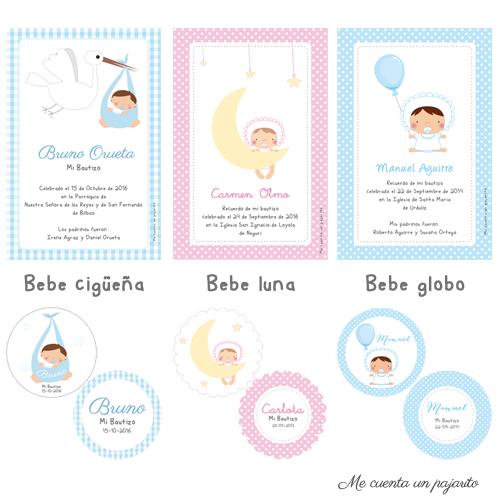 Recordatorios personalizados de bautizo cigüeña, luna y estrellas, globo
