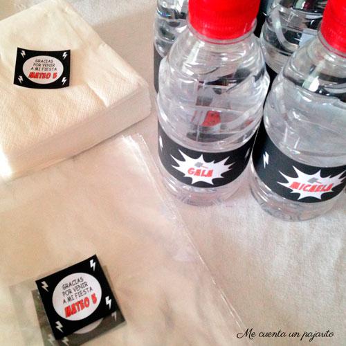 Pegatinas gracias por venir y etiquetas botellines kit de cumpleaños súper héroe Thor, mesa dulce