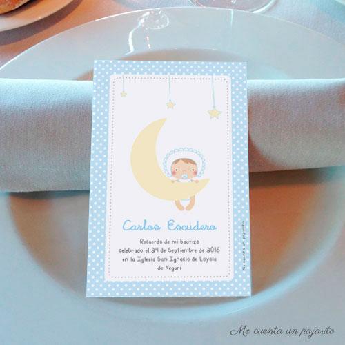 Recordatorio de bautizo personalizado bebe luna y estrellas azul