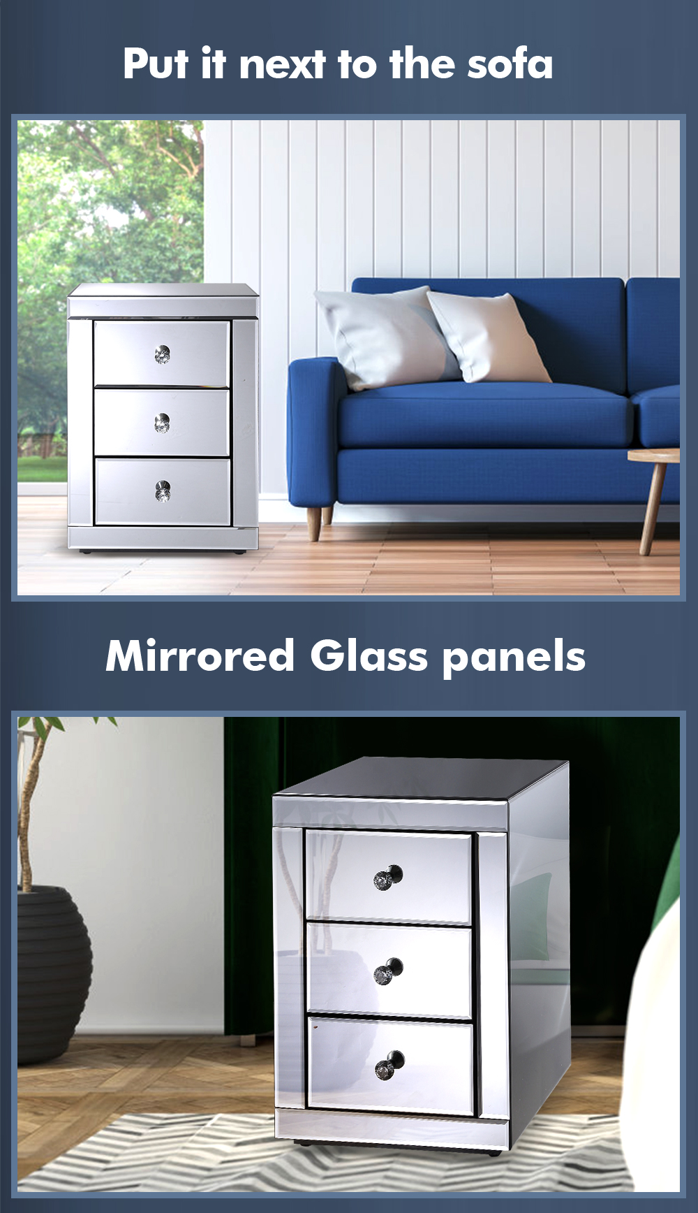 Mirrored Bedside Table With Drawers: Levede Bedside Tables Nightstands Drawers Side Table