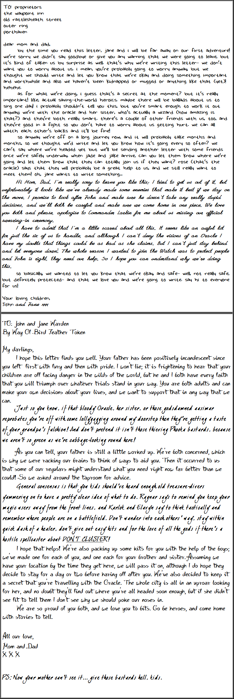 Letter to the Waypoint Inn 01, For attachment to LODAD fic on AO3.