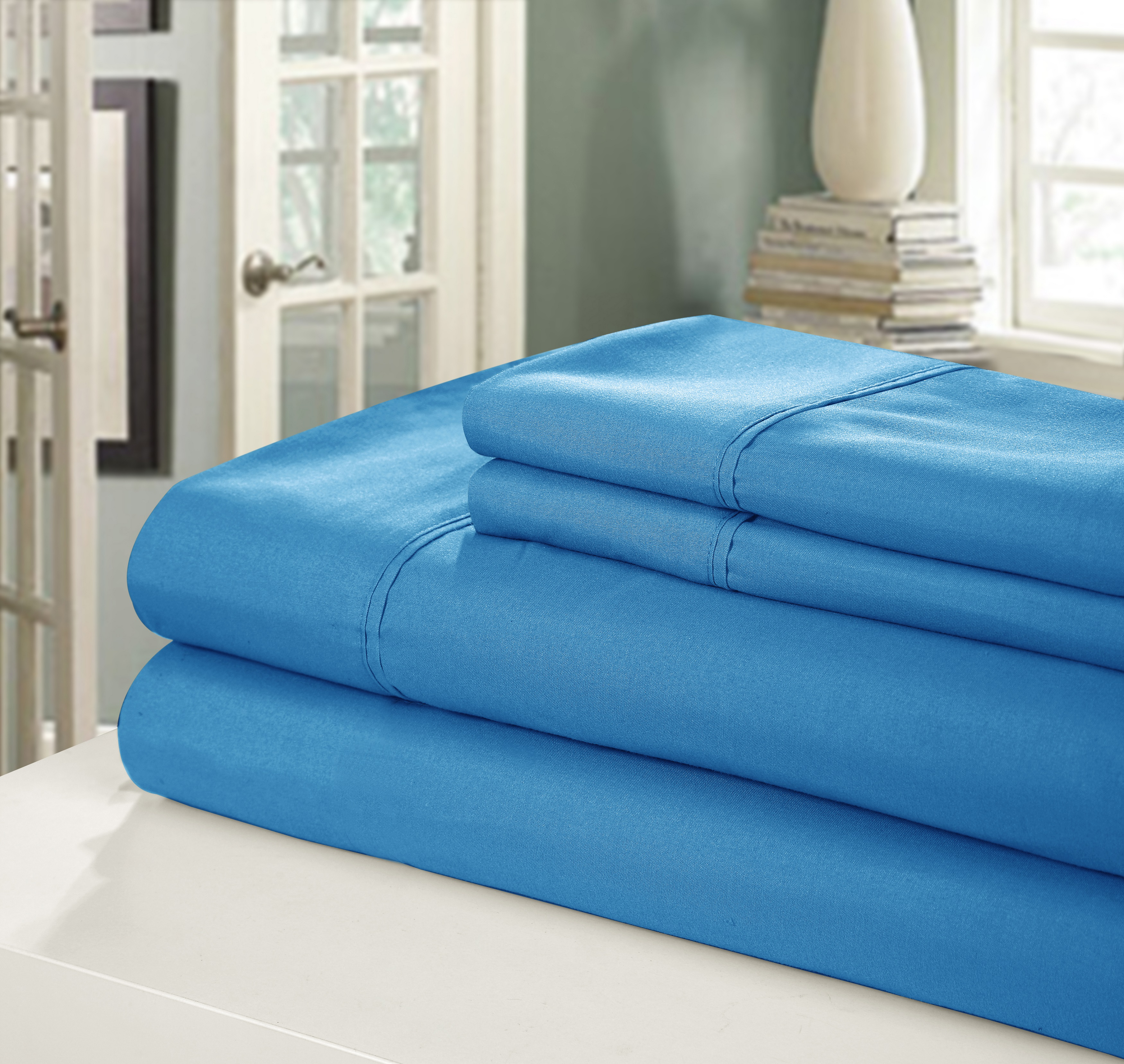 Chic Home NEW!! Chic Home 400 Series Peach Skin Microfiber 4-Piece Sheet Set Ensemble, Full, Blue
