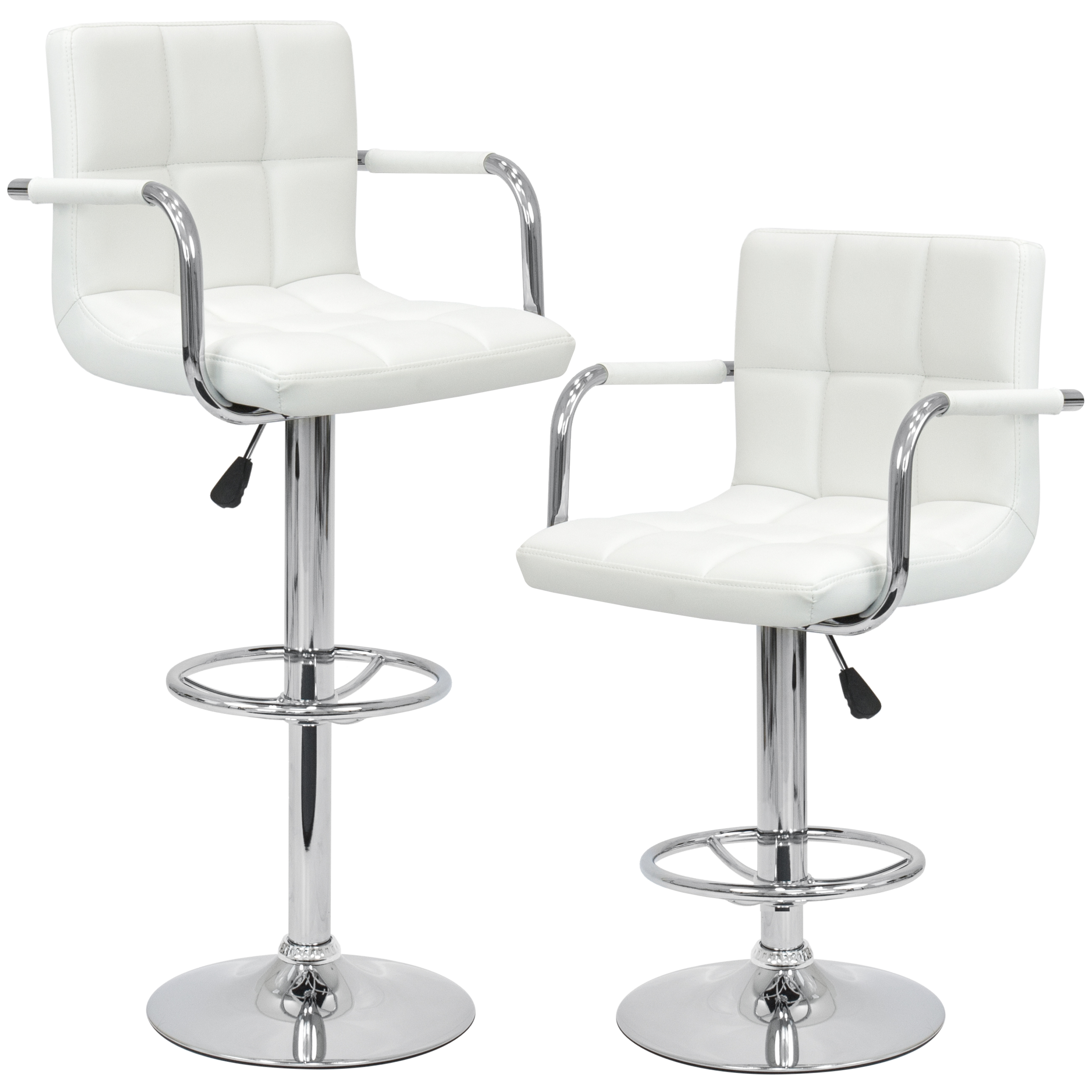 Bar Stool Set Of 2 Adjustable Height Seat Chair Swivel: Set Of 2 Swivel Hydraulic Height Adjustable Leather Pub
