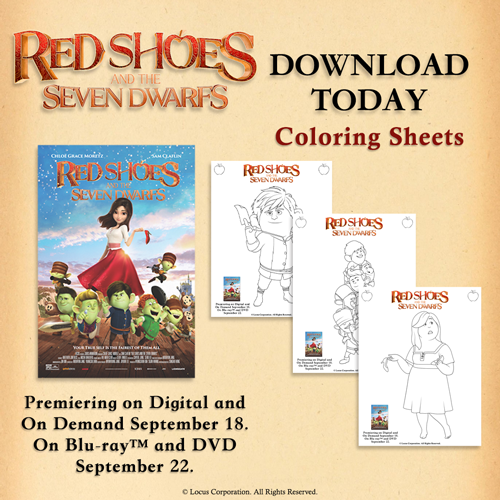 Red Shoes and the Seven Dwarfs Coloring Pages