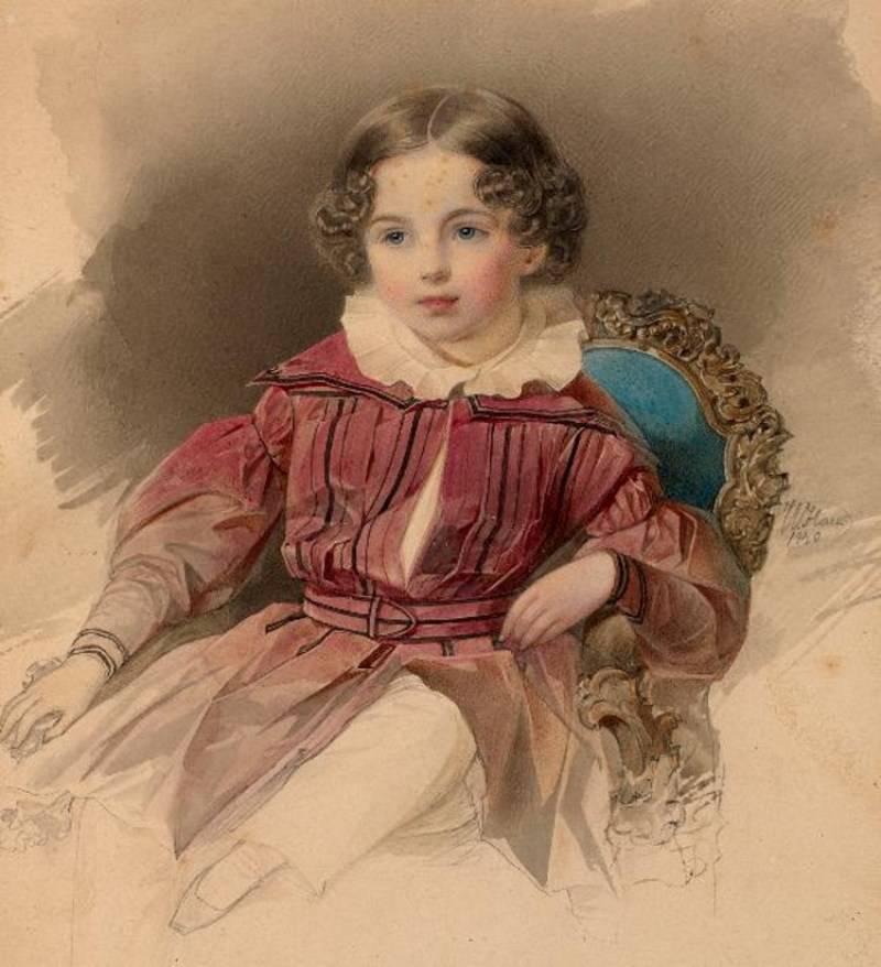 Gau V, Retrato del niño, acuarela