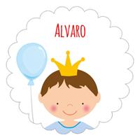 Etiqueta de cumpleaños del principe con globo