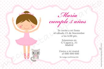 Invitación de cumpleaños de la bailarina