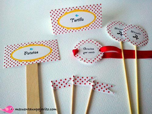 Meseros, place cards, toppers, mini flag, banderitas personalizadas, fiesta de cumnpleaños Blancanieves